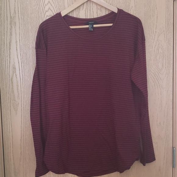 Forever 21 burgundy & black long sleeve tshirt